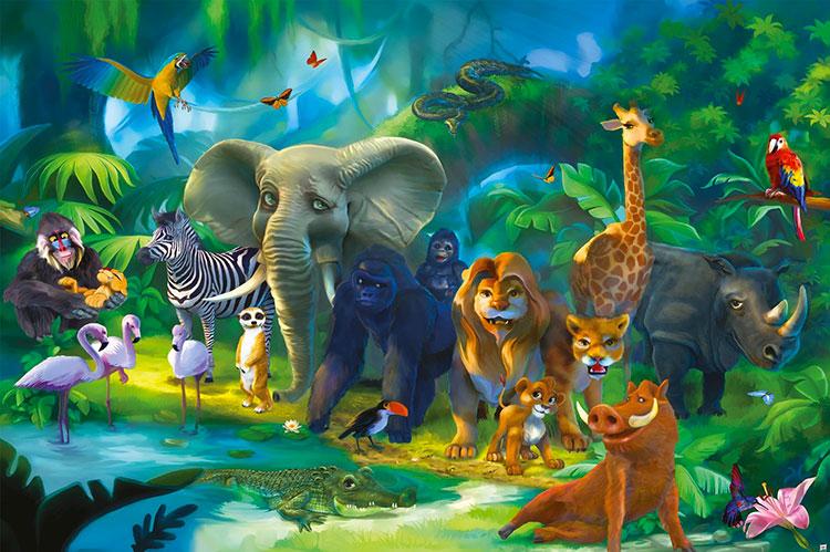 Carta da parati con animali motivo giungla per la cameretta dei bambini n.03