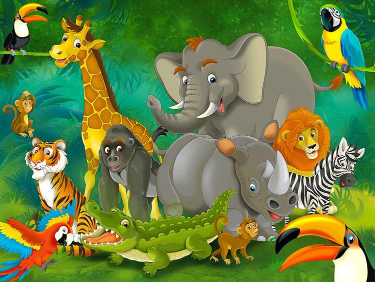 Carta da parati con animali motivo giungla per la cameretta dei bambini n.04