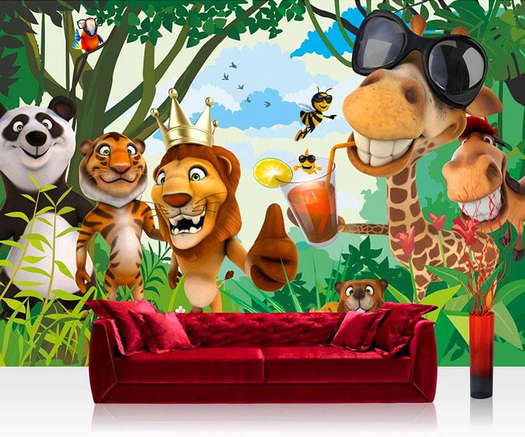 Carta da parati con animali motivo giungla per la cameretta dei bambini n.05