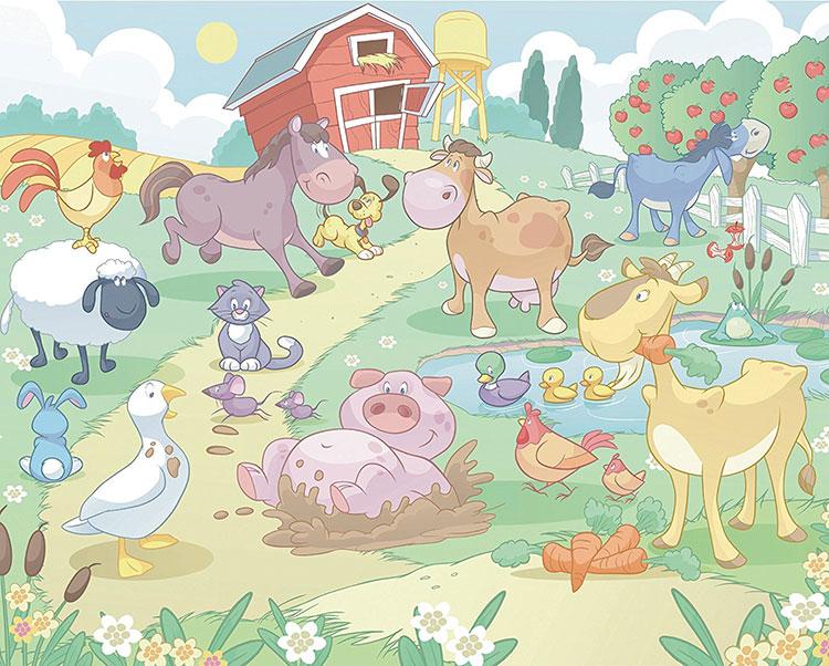 Carta da parati con animali motivo fattoria per la cameretta dei bambini