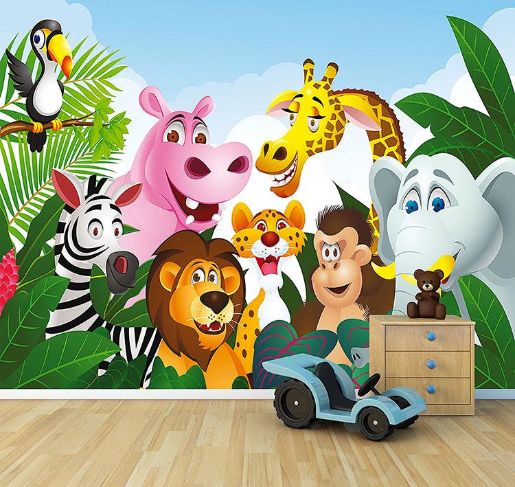 Carta da parati con animali motivo giungla per la cameretta dei bambini n.07