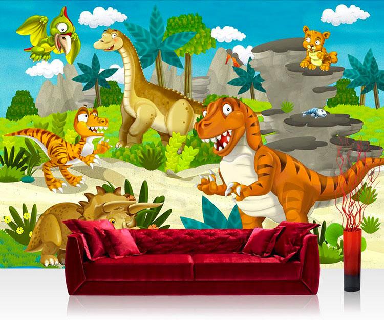 Carta da parati con dinosauri per la cameretta dei bambini n.01