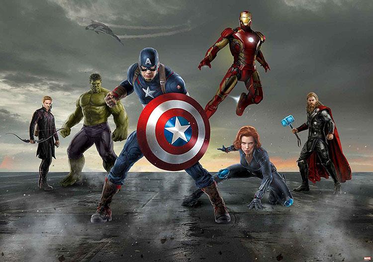 Carta da parati degli Avengers per camerette di bambini n.05