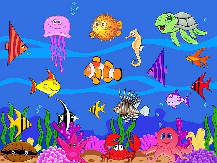 Modello di carta da parati a tema marino per bambini n.04