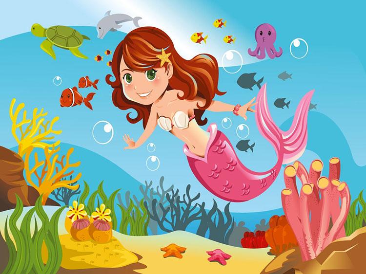 Modello di carta da parati a tema marino per bambini n.05
