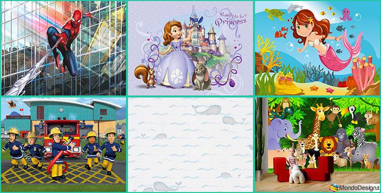 Carta da parati per camerette di bambini for Carta da parati disegni