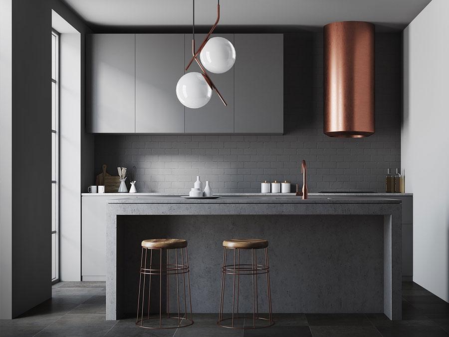 Colori per pareti in una cucina bianca e grigia n.02