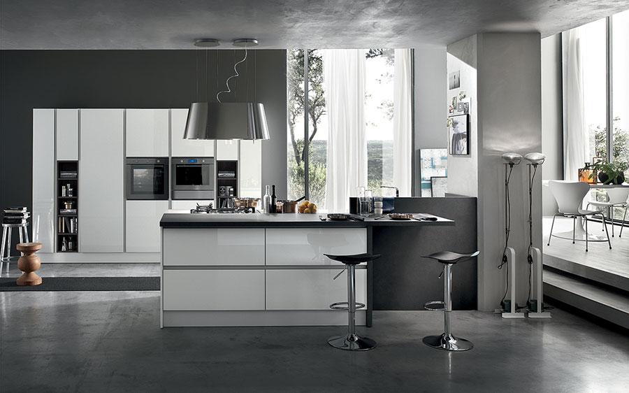 Colori per pareti in una cucina bianca e grigia n.06