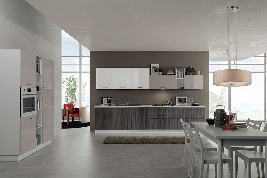 Colori per pareti in una cucina bianca e grigia n.07