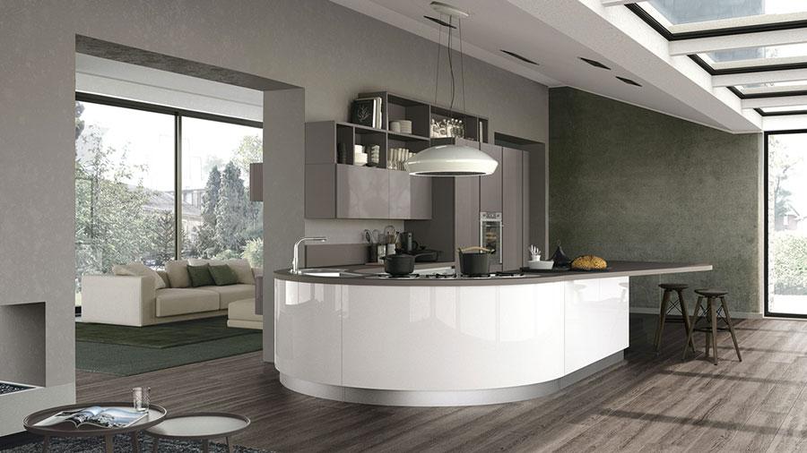 Modello di cucina bianca e grigia moderna n.01