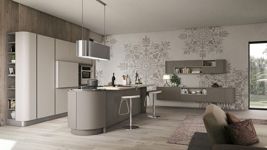 Modello di cucina bianca e grigia moderna n.02