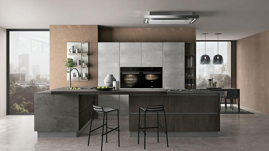 Modello di cucina bianca e grigia moderna n.03