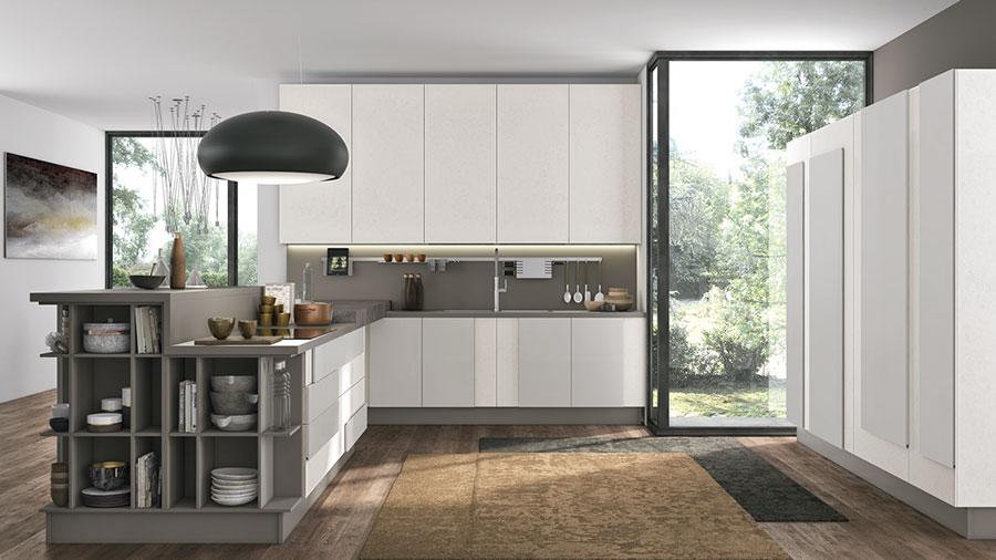 Modello di cucina bianca e grigia moderna n.04