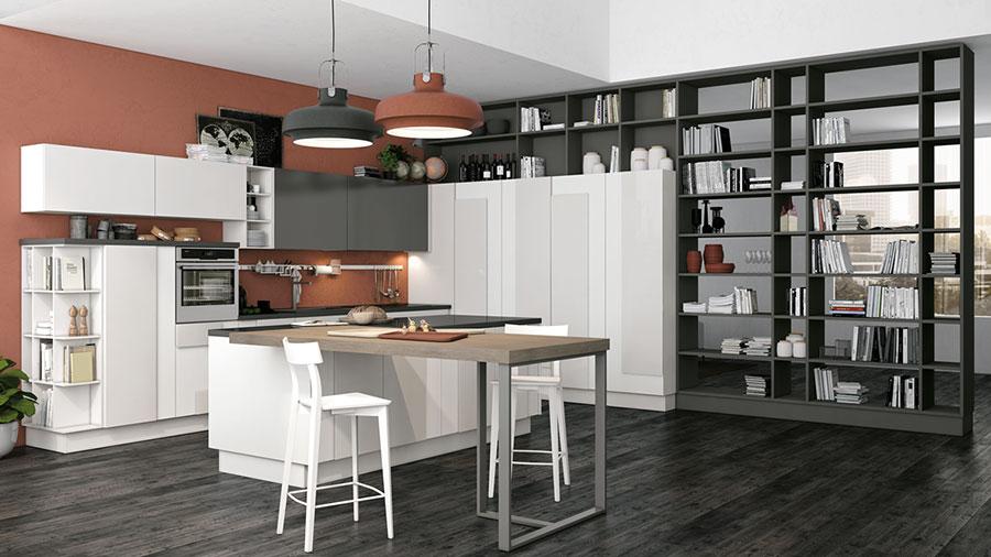 Modello di cucina bianca e grigia moderna n.05