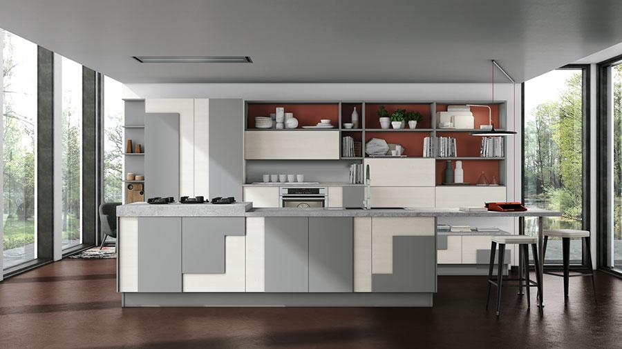 Modello di cucina bianca e grigia moderna n.06
