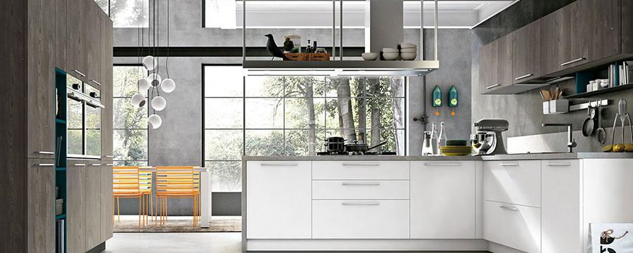 Modello di cucina bianca e grigia moderna n.07
