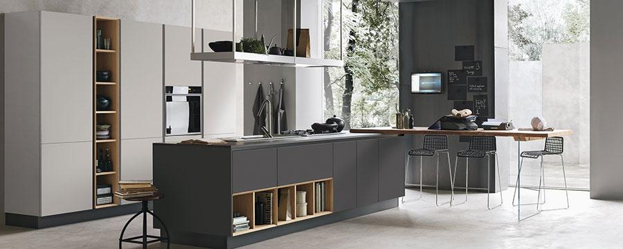 Modello di cucina bianca e grigia moderna n.08