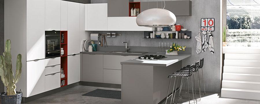 Modello di cucina bianca e grigia moderna n.09