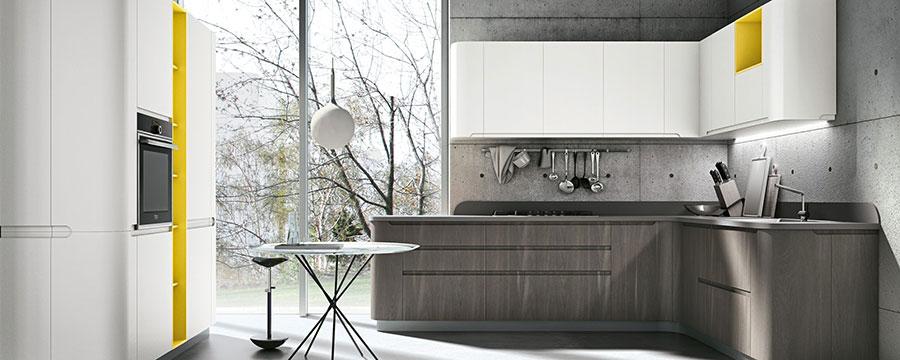 Modello di cucina bianca e grigia moderna n.10