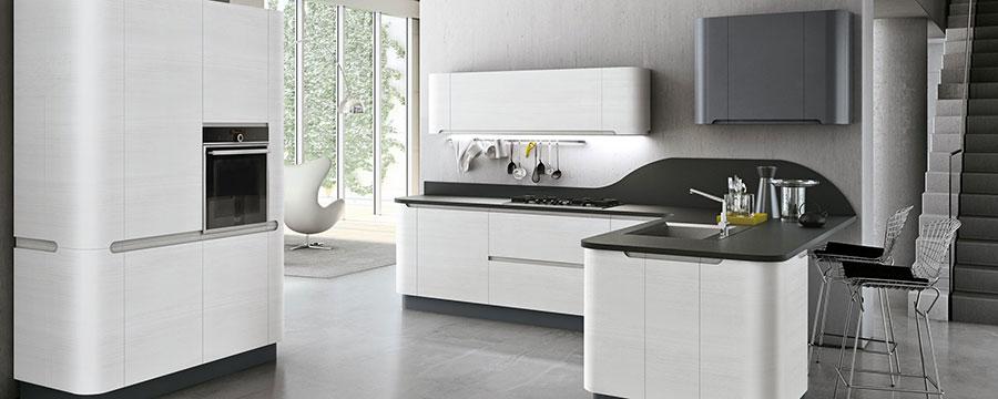 Modello di cucina bianca e grigia moderna n.11