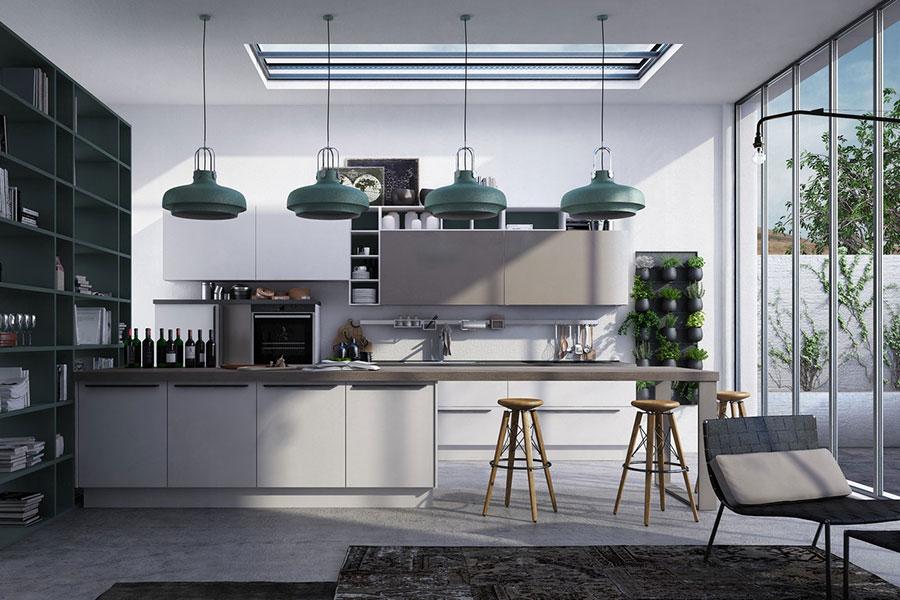 Modello di cucina bianca e grigia moderna n.15