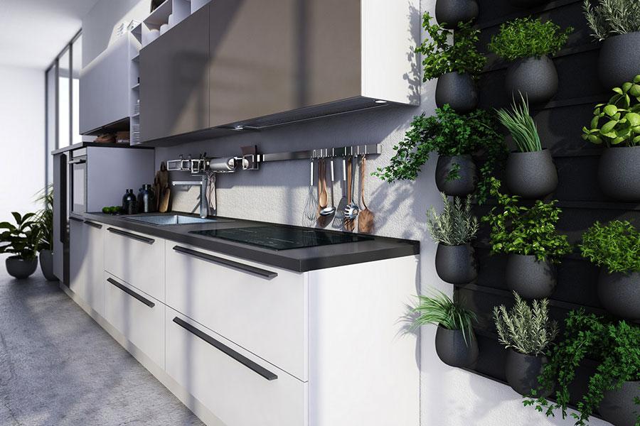 Modello di cucina bianca e grigia moderna n.17