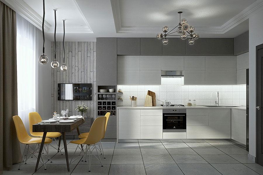 Modello di cucina bianca e grigia moderna n.19