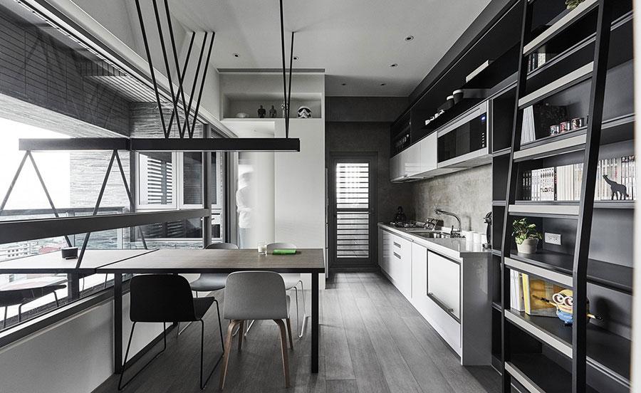 Modello di cucina bianca e grigia moderna n.20