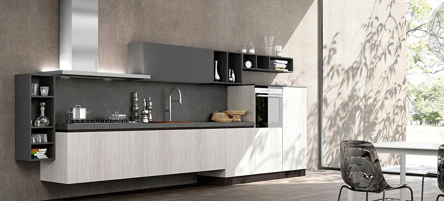Modello di cucina bianca e grigia opaca n.02