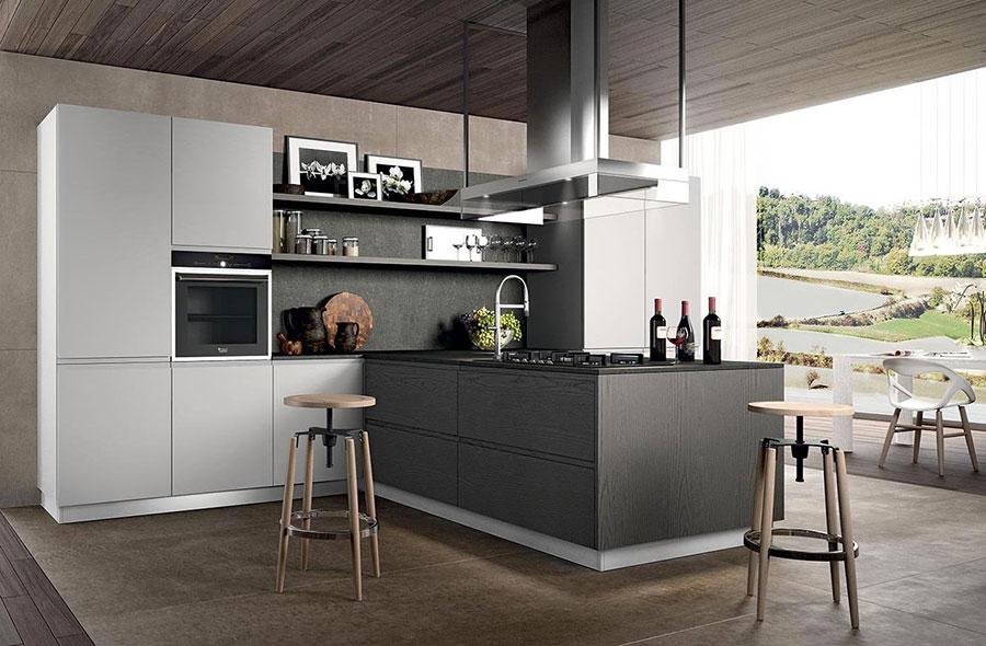 Modello di cucina bianca e grigia opaca n.04