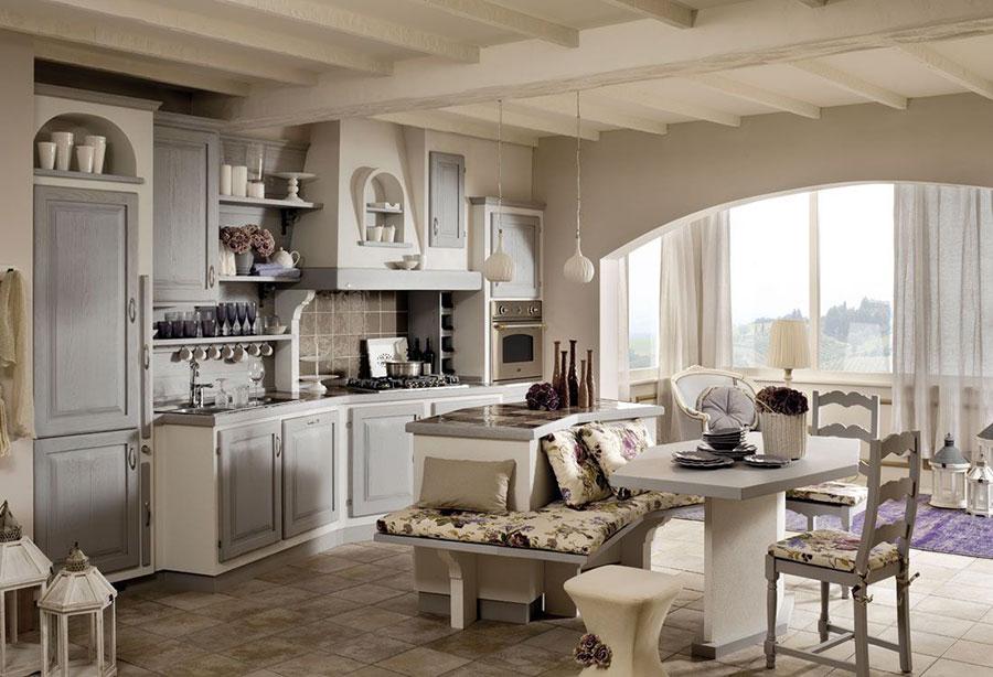 Modello di cucina bianca e grigia shabby chic n.01