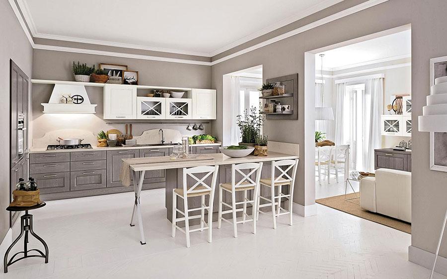 Modello di cucina bianca e grigia shabby chic n.02