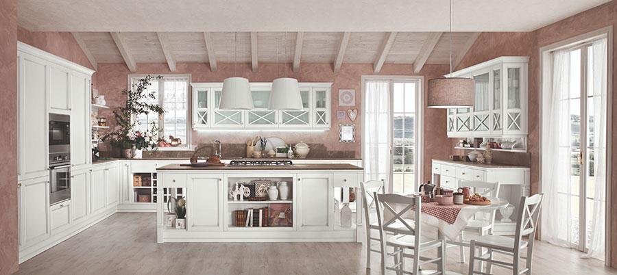Modello di cucina bianca e grigia shabby chic n.03