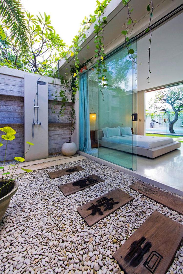 Idee per creare una doccia da giardino da sogno in stile zen n.08