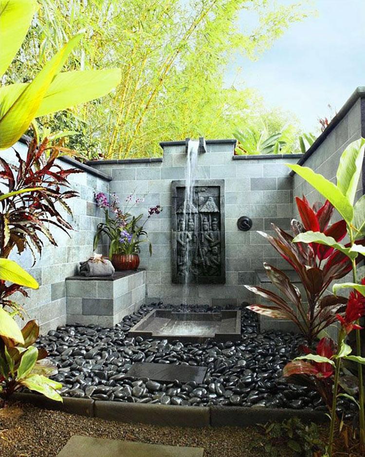 Idee per creare una doccia da giardino da sogno in stile zen n.09