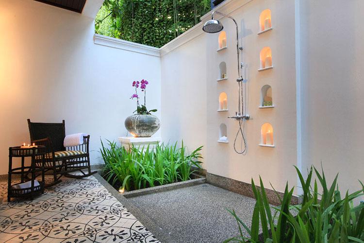Idee per creare una doccia da giardino da sogno in stile zen n.19