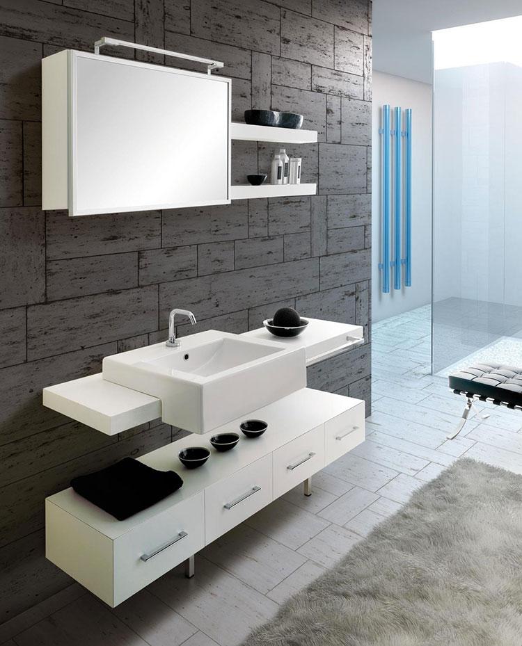 Modello di mobile bagno bianco opaco n.04