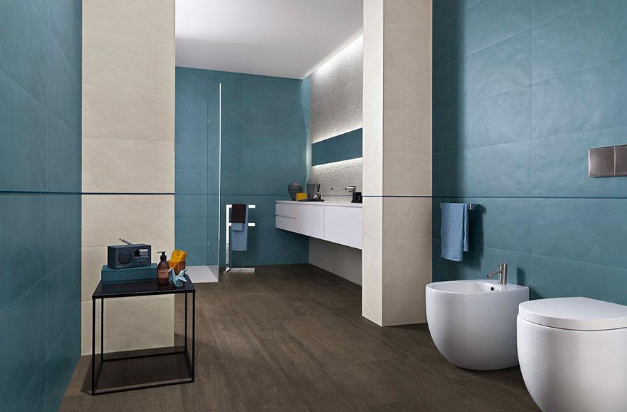 Rivestimenti per bagno blu e bianco n.02