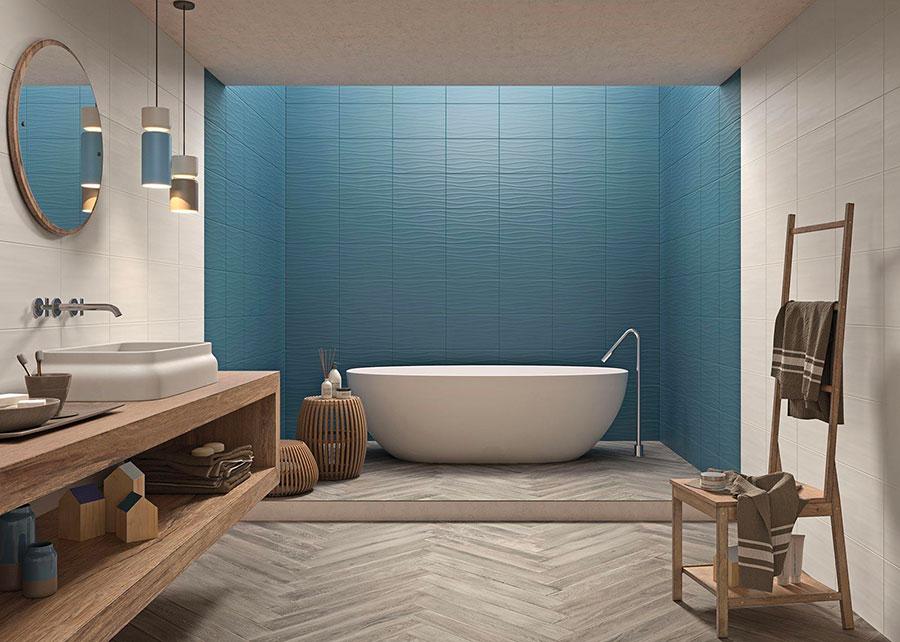 Rivestimenti per bagno blu e bianco n.03