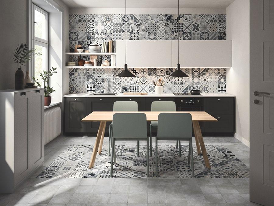 Modello di piastrelle per cucina bianca e grigia n.01
