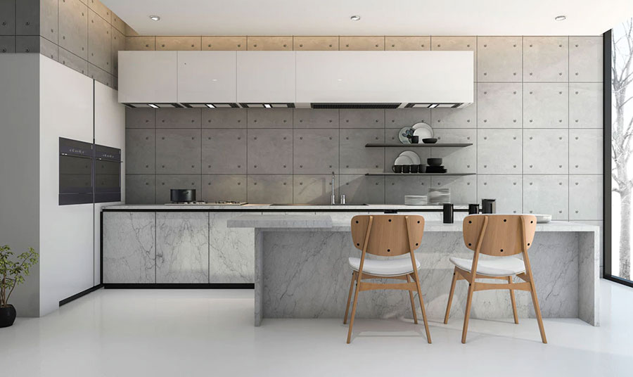 Modello di piastrelle per cucina bianca e grigia n.03
