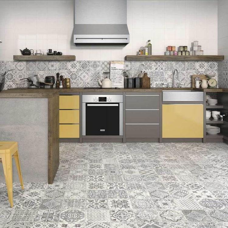 Modello di piastrelle per cucina bianca e grigia n.04