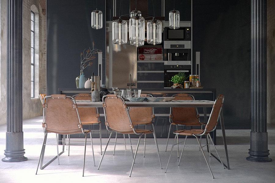 Arredamento per sala da pranzo in stile industriale n.05
