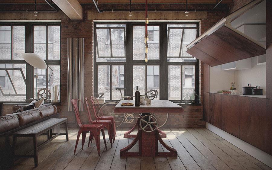 Arredamento per sala da pranzo in stile industriale n.07
