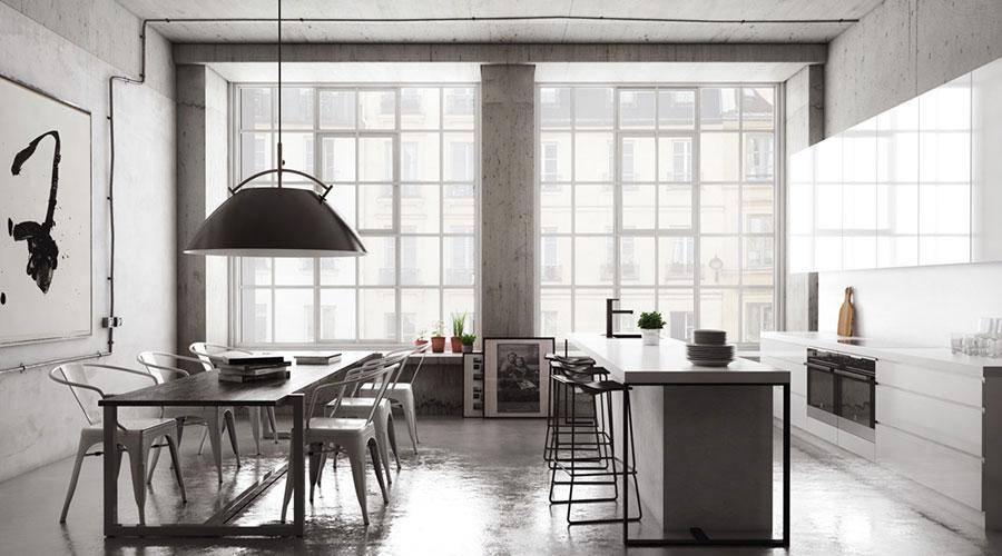 Arredamento per sala da pranzo in stile industriale n.09