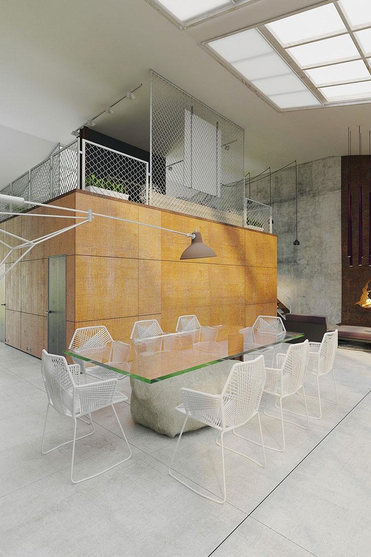 Arredamento per sala da pranzo in stile industriale n.10