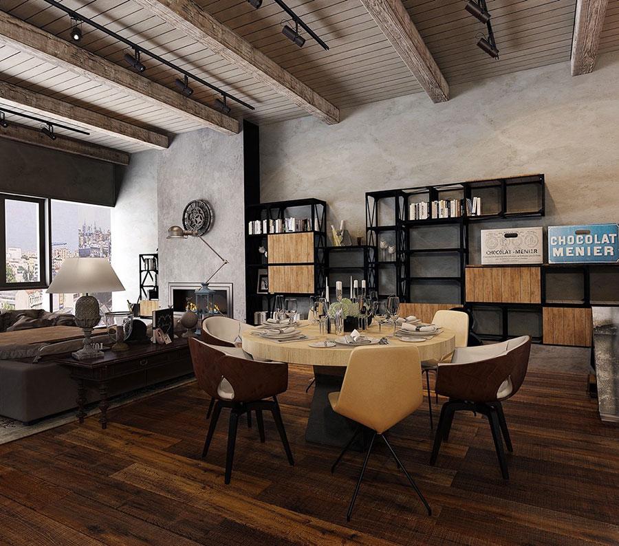 Arredamento per sala da pranzo in stile industriale n.11
