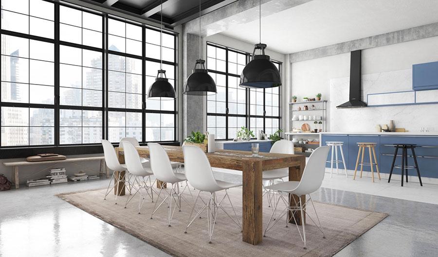 Arredamento per sala da pranzo in stile industriale n.12