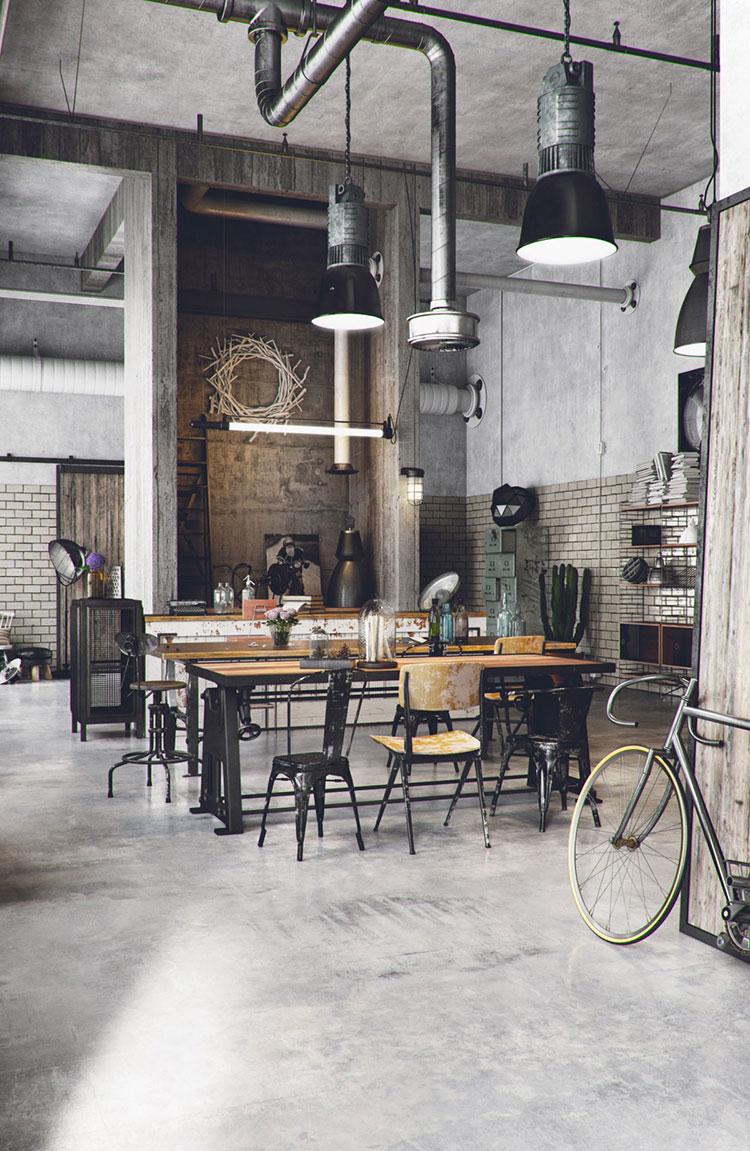 Arredamento per sala da pranzo in stile industriale n.13