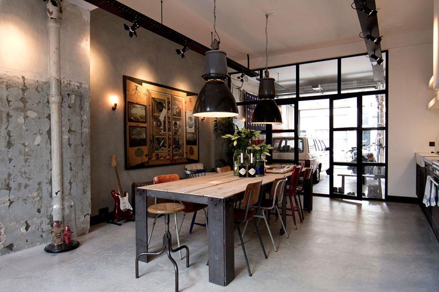 Arredamento per sala da pranzo in stile industriale n.15